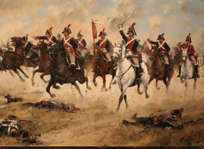 Caballería española cargando contra el ejército francés del mariscal Dupont en Bailén. Augusto Ferrer-Dalmau