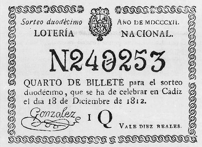 Cuarto de billete sorteado en Cádiz en 1812