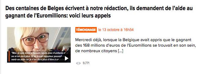Noticia en televisión belga