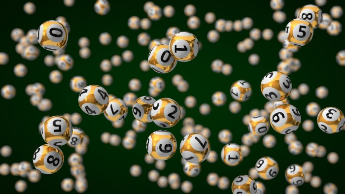 bolas de lotería suspendidas en el aire