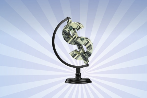 bola del mundo con símbolo dolar