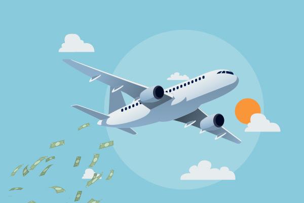 avión soltando dinero