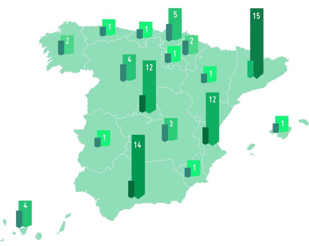 mapa de administración en cada comunidad